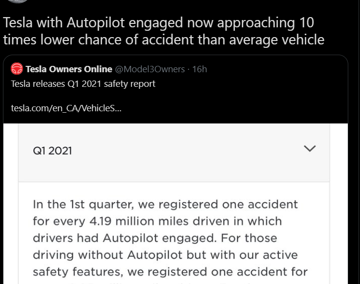 Tesla with Autopilot engaged approaching 10 times lower chance of accident than average vehicle.